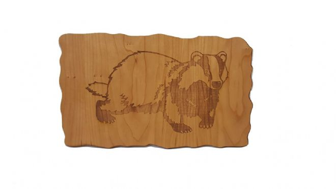 Badger - Engraved Wooden Wall Plaque - Choice of Wood Type